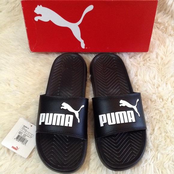 8f0dfc93c09f08 Puma Cat Logo Slide Sandals
